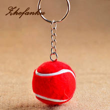 6 Color Pendant Tennis Rackets Keychain With Ball Fashion Accessories Souvenir Gift Key Ring(China)