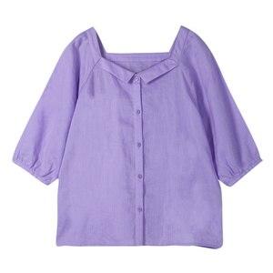 Image 4 - Женская блузка в стиле ретро с квадратным вырезом и рукавом три четверти