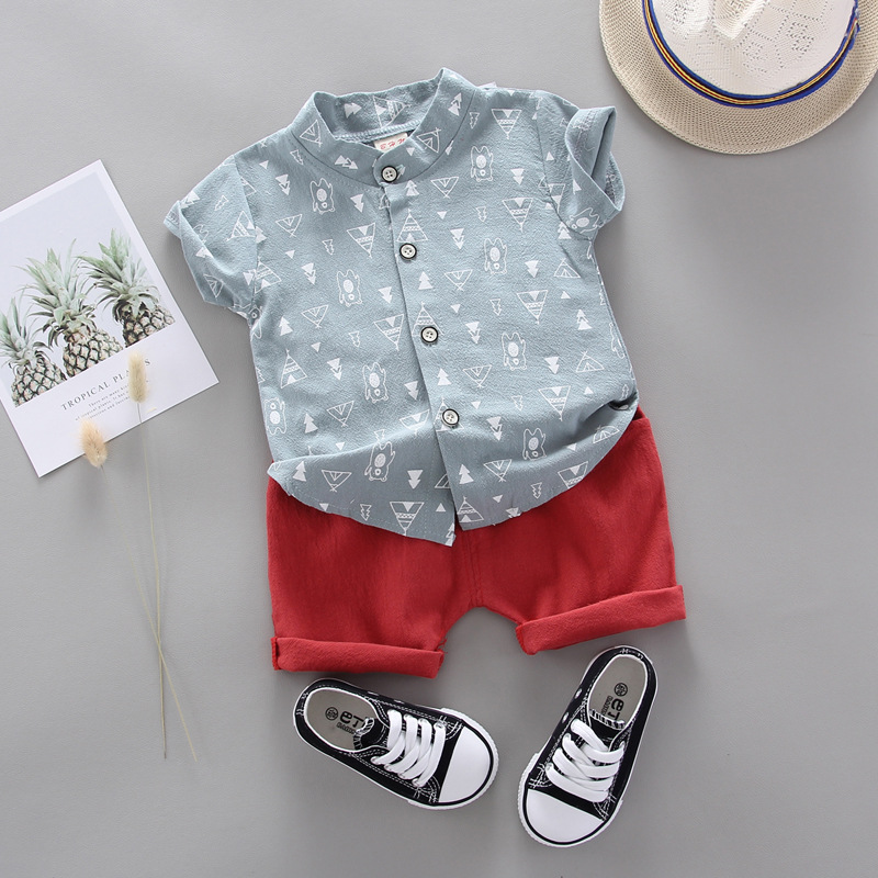 Baby Boy Clothes Summer Short-sleeved Shorts 2 Pieces Cotton And Linen Casual Shirt Cartoon Letter Printed Cotton Baby Suit