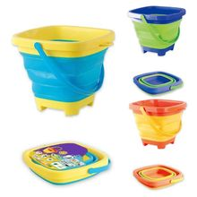 Portable Beach Bucket Sand Toy Foldable Collapsible Multi Purpose Plastic Pail N1HB