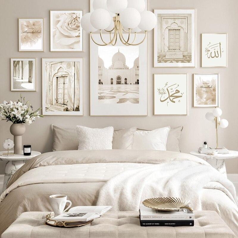 Исламский бежевый плакат, пейзаж, холст, печать, марокканская мечеть, дверь, настенная живопись, Богемская живопись, Современное украшение для дома, комнаты