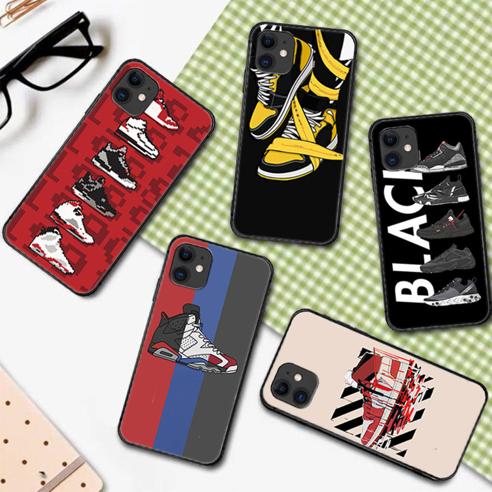 Luxury Brand Sneakers Phone Case Cover For Iphone 5 5S 6 6S PLUS 7 8 11 12 Mini X XR XS PRO SE 2020 MAX black Bumper Trend