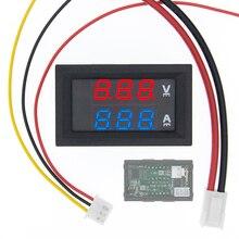 """10 шт. DC 0 100 в 10A цифровой вольтметр Амперметр Двойной дисплей детектор напряжения панель измерителя тока Амперметр 0,28 """"красный синий"""