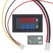 """10 個の dc 0 100V 10A デジタル電圧計電流計デュアルディスプレイ電圧検出電流計ボルトゲージ 0.28 """"赤、青"""
