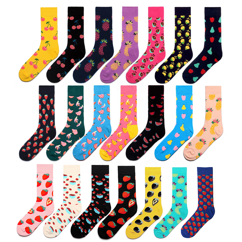 Creative Socks Men Funny Cute Cartoon Fruits Banana Avocado Lemon Strawberry Animal Print Happy Harajuku Skateboard Socks