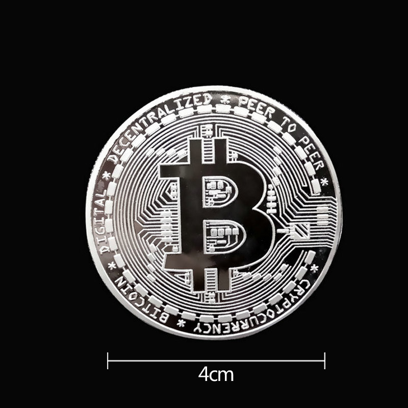 BITCoin Art Collection Gold Plated Physical Bitcoins Bitcoin BTC with Case Gift Physical Metal Antique Imitation Silver Coins-4
