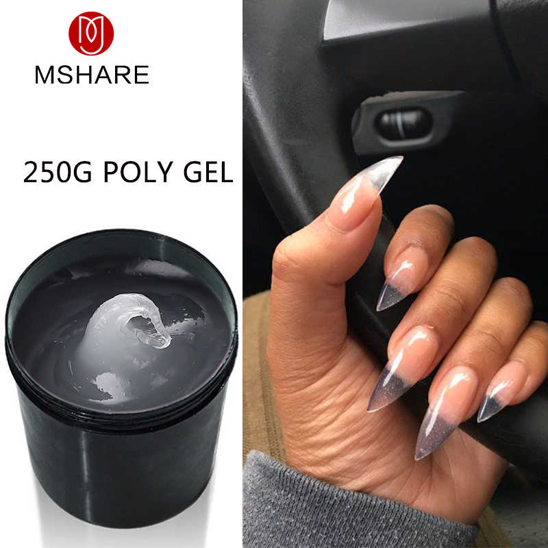MSHARE Polygel 250g Gel acrylique Transparent  Gel dur pour Extension d'ongle rose nu blanc