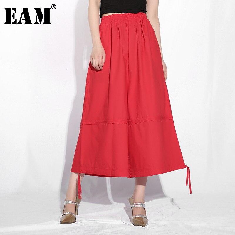 [EAM] High Elastic Waist Black Ribbon Long Wide Leg Trousers New Loose Fit Pants Women Fashion Tide Spring Autumn 2020 YC953