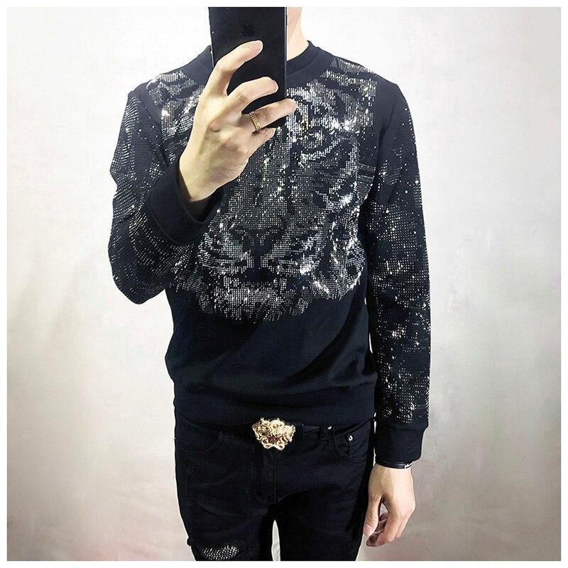 Livraison gratuite hommes strass tigre à manches longues noir mode t-shirt/fête/scène/bling style