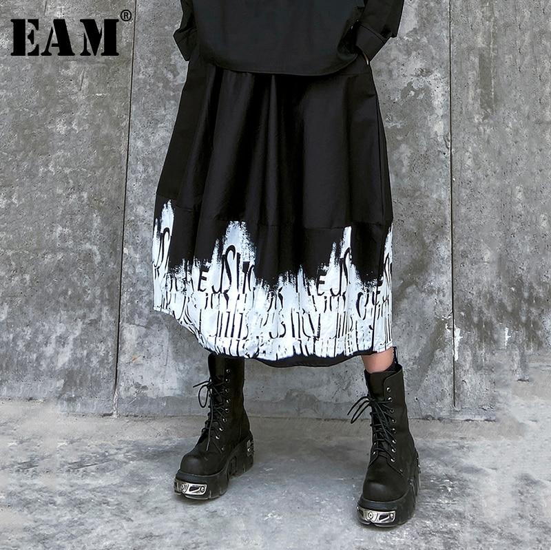 [EAM] High Elastic Waist Black Pattern Printed Split Temperament Half-body Skirt Women Fashion Tide New Spring Autumn 2020 1R675