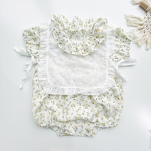 MILANCEL baby bodysuits ruffle collar infant girls jumpsuit and lace bib toddler