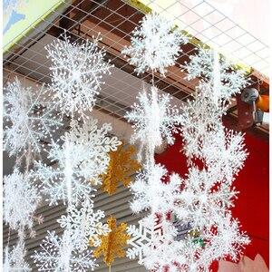 30 шт. Рождественская вечеринка белый Снежинка Декор для дома Висячие Подвески Новогоднее Рождественское дерево украшения украшение окна