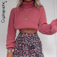 Cryptographic Autumn Winter Turtleneck Knitted Sweaters Pullovers Long Sleeve Crop Top cropped Sweater Sueter Mujer Jumper