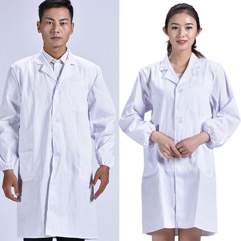 Unisex Long Sleeve White Lab Coat Men Women Lapel Collar Button Down Medical Doctor Blouse With Pockets Doctor Nurse Uniform