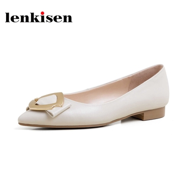 Lenkisen new full grain leather  European style shoes pointed toe low heels solid metal fasteners modern women spring pumps L69