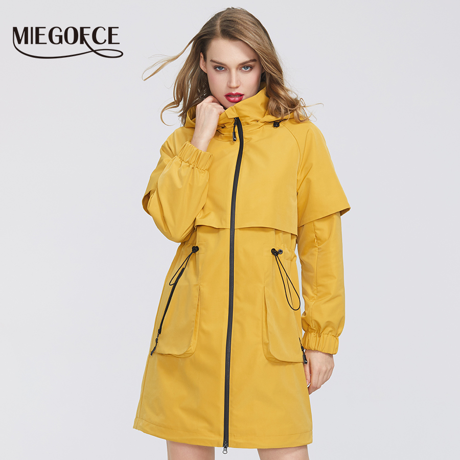 MIEGOFCE 2020 New Spring Women Coat Jacket Windproof Windbreaker Fashion Medium-length Loose Classic Model Fitted Zipper Pockets