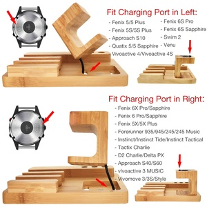 Image 3 - Fenix 6 Bamboo Wood Fenix Charger Charing Dock Holder for Garmin Fenix 5/5X/5S/Desk Station Organizer with Charing Cable