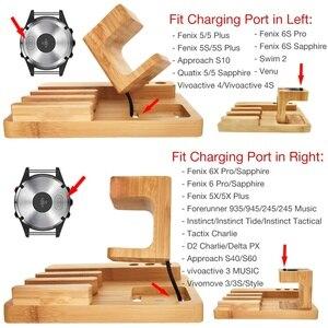 Image 3 - Fenix 6 bambou bois Fenix chargeur Charing Dock support pour Garmin Fenix 5/5X/5S/bureau Station organisateur avec câble de Charing