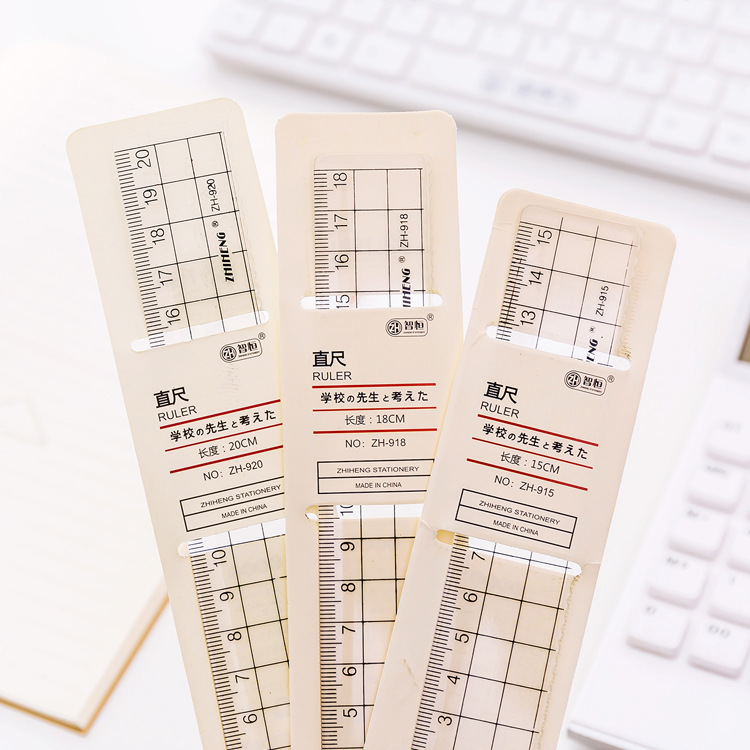 Creative Simple Sample Style Ruler Transparent Square Acrylic Plastic Ruler Hand Account Scale Set Ruler Student