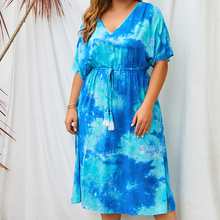 Elegant Fringed Belt Maxi Dress Fashion Plus Size Women's Dress 2021Summer Bohemian Style V-Neck Tie-Dye Printed Beach Dress