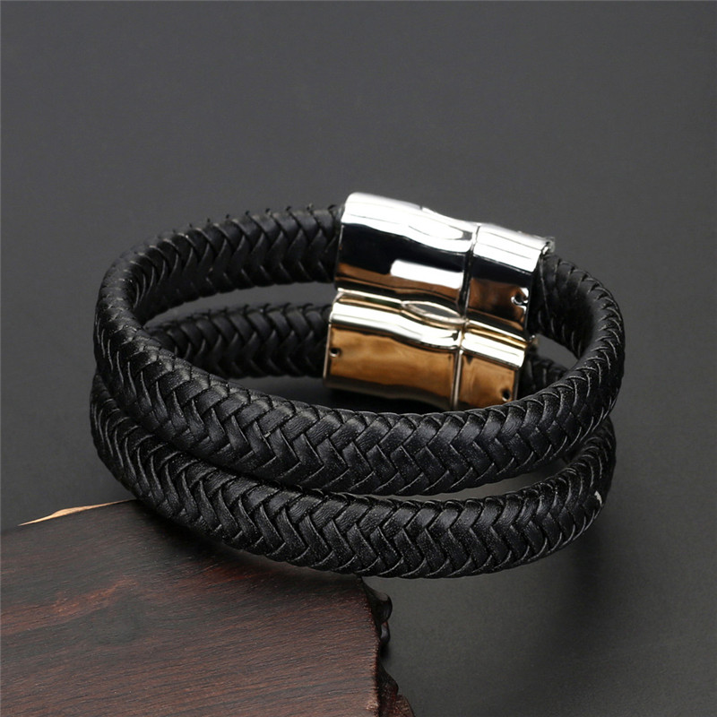 Braided Genuine Leather Bracelet Men Creative Design Stainless Steel Women Bracelets Gold Magnetic Buckle Charm Fashion Jewelry