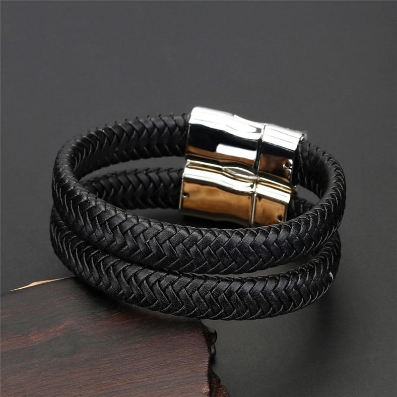 Braided Genuine Leather Bracelet Men Creative Design Stainless Steel Women Bracelets Gold Magnetic Buckle Charm Fashion Jewelry