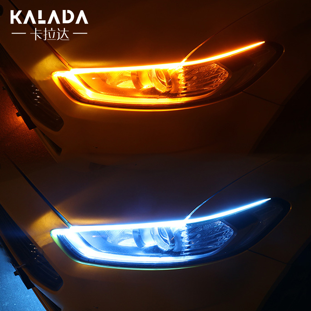 2pcs Silicone Ultra-thin Cut LED Tape For Car Light Strip Auto Headlights DRL Turn Signal Lamp Running Angel Eyes Waterproof 12V