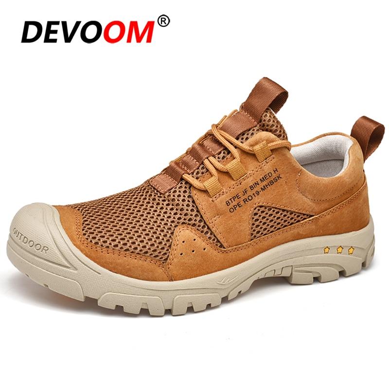 Summer Breathable Mens Climbing Hiking Shoes Outdoor Mesh Mountain Waterproof Trekking Sport Shoes Anti-Slip Sneakers Men EU 46