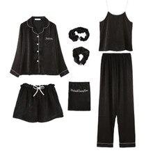 7 Teil/satz Sexy Pyjamas Set Frauen Baumwolle Frühling Pyjamas Sexy Weibliche Lange Shirt Stich Dessous 2019 Top Mode Nachtwäsche