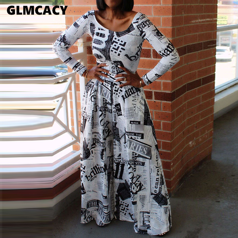 Women Long Sleeve Newspaper Printed Jumpsuit Elegant Autumn Overalls Casual Daily Work Wide Leg Jumpsuits