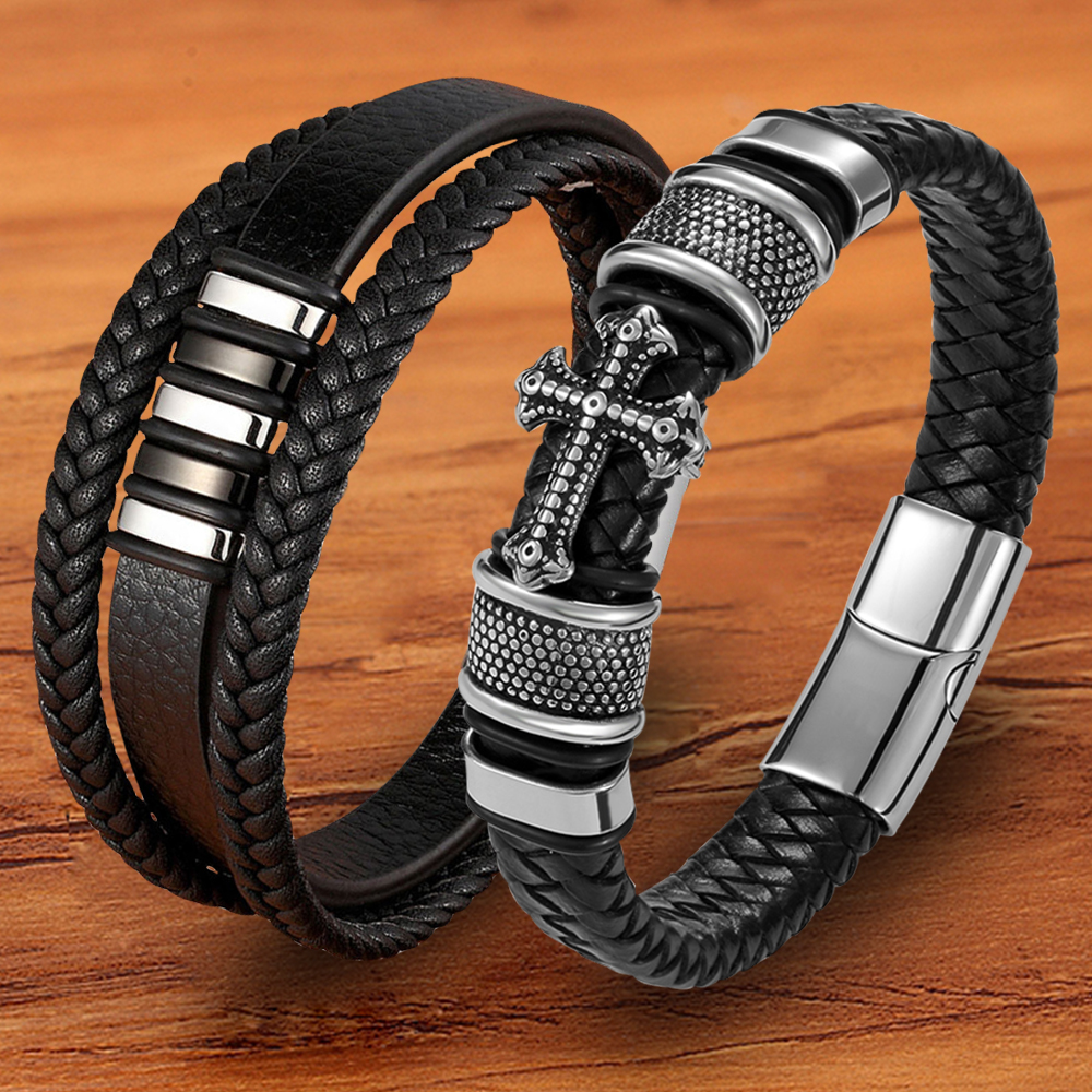 Trendy Designer Stainless Steel Rope Woven Magnetic Genuine Leather Black Bracelet for Men Cross Braided Jewelry Accessories