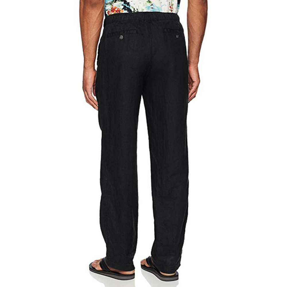 Hfb333419ccac4e05a33a42cbcb20ca7eL Feitong Fashion Cotton Linen Pants Men Casual Work Solid White Elastic Waist Streetwear Long Pants Trousers