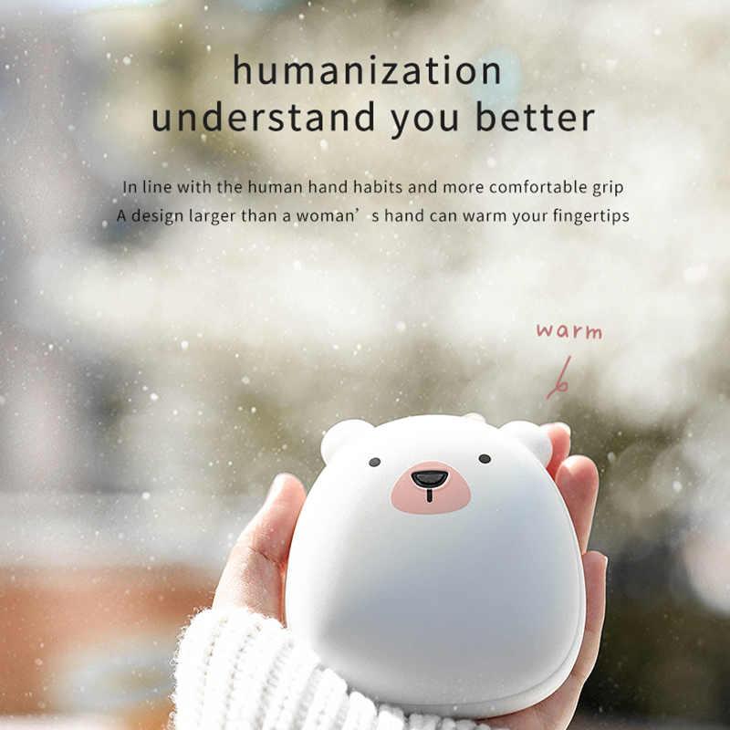 Cute Cartoon Winter Mini Hand Warmer Portable USB Rechargeable Penguin/Polar Bear 3600mAh Power Bank Double Sided Quick Heating