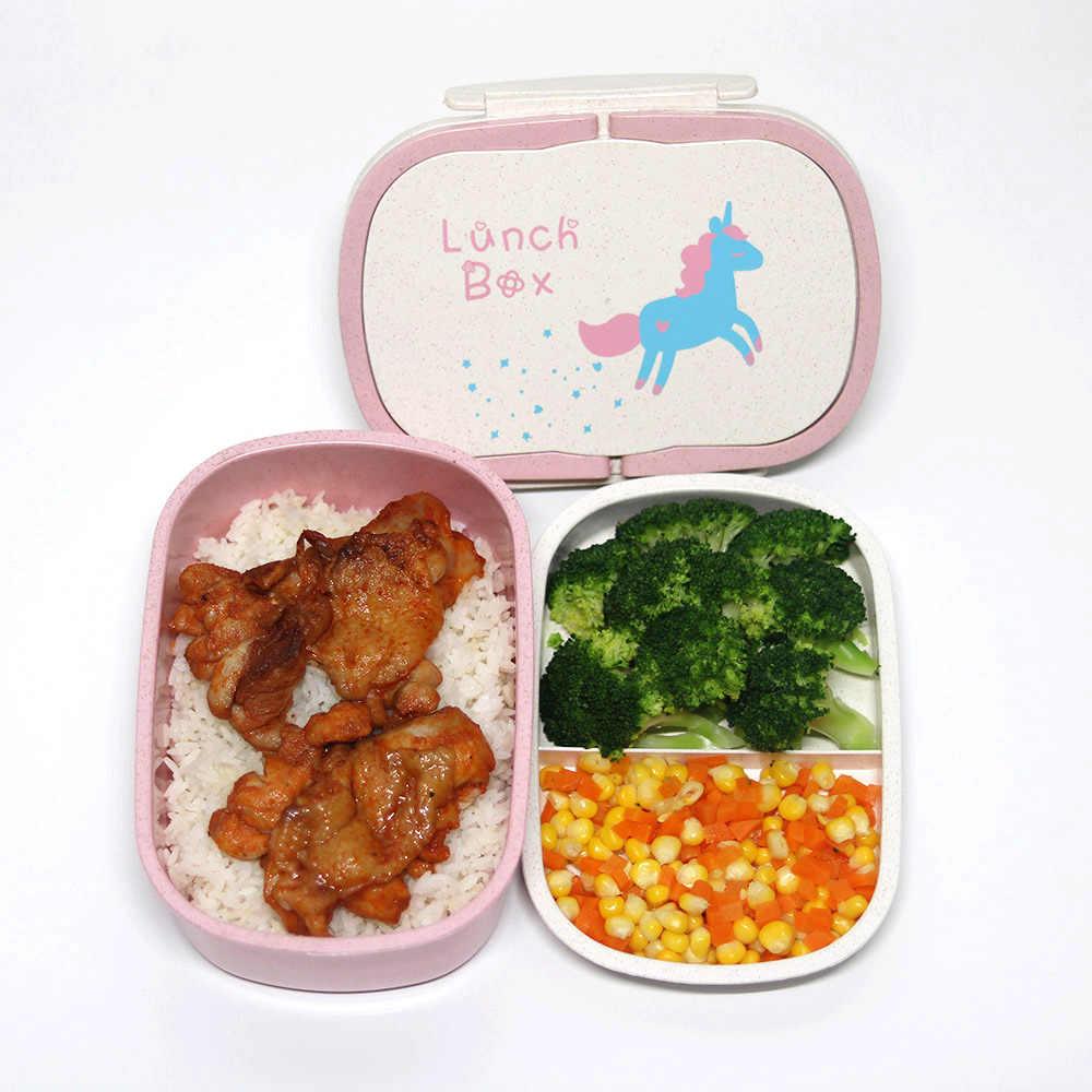 Cokytoop Student Lunch-Box für Kind Umweltfreundliche Lebensmittel Container Lagerung Bento Boxen 2 Schicht Griff Broodtromme Einhorn