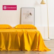 Sondeson Luxury Beauty 100% Silk Yellow Flat Sheet 25 Momme Silk Queen King Healthy Skin Bed Sheet Pillowcase For Women Men Kids