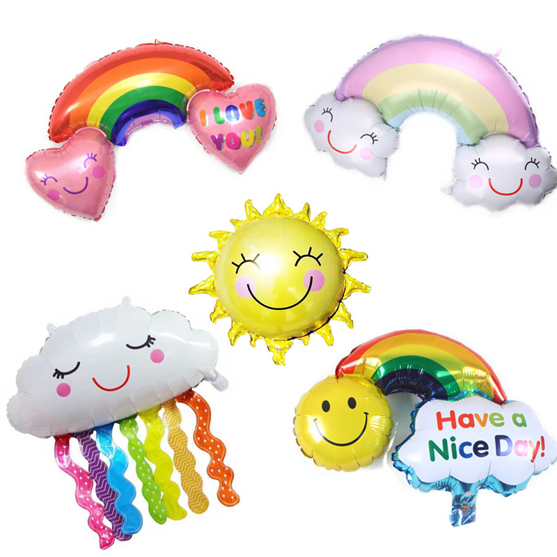 Sun  Cloud Balloon Sunglasses Rainbow Smile Face Sun Flower Helium Balloons Birthday Party Wedding Decoration Cartoon Hat