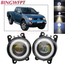2pcs NEW Car styling Angel Eyes front bumper LED fog Lights with len For Mitsubishi L200 2005/06/07/08/09/10/11/12