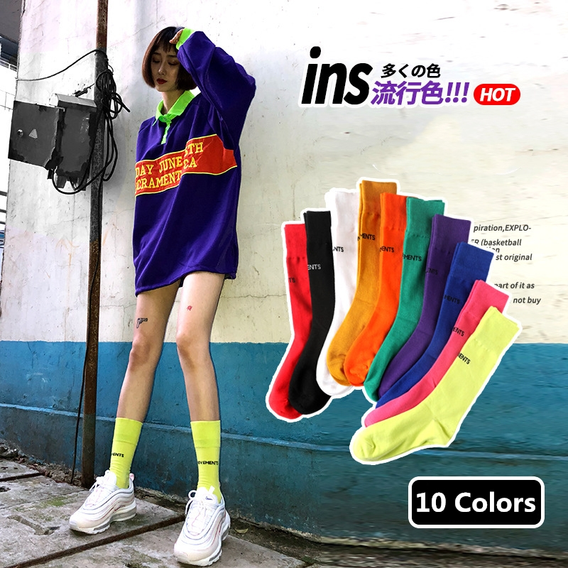 INS Hot Solid Color Cotton Socks Men / Women Streetwear Thin Skateboard Socks Tide Card Hip Hop Couple Multicolor Long Tube Sock