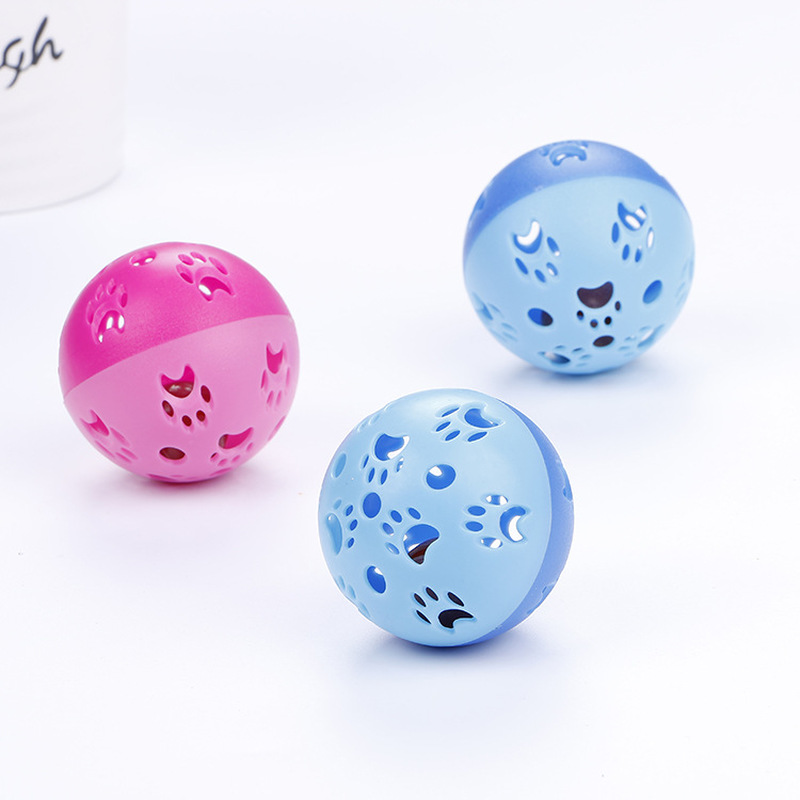 1pc Cats Toys Hollow Bell Funny Plastic Interactive Ball Tinkle Puppy Playing Products Pets Favorite Accessories