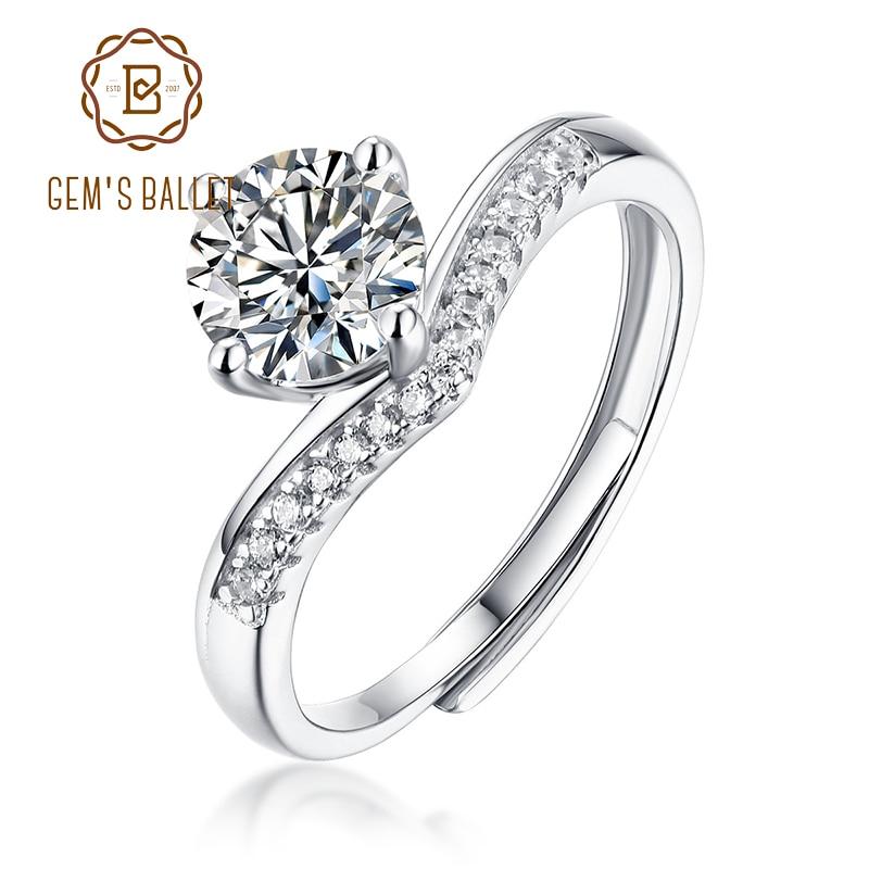 Gemmes-bagues en argent Sterling 925, bracelet en diamants, 1CT, fiançailles de mariée, bague Fine classique pour femmes