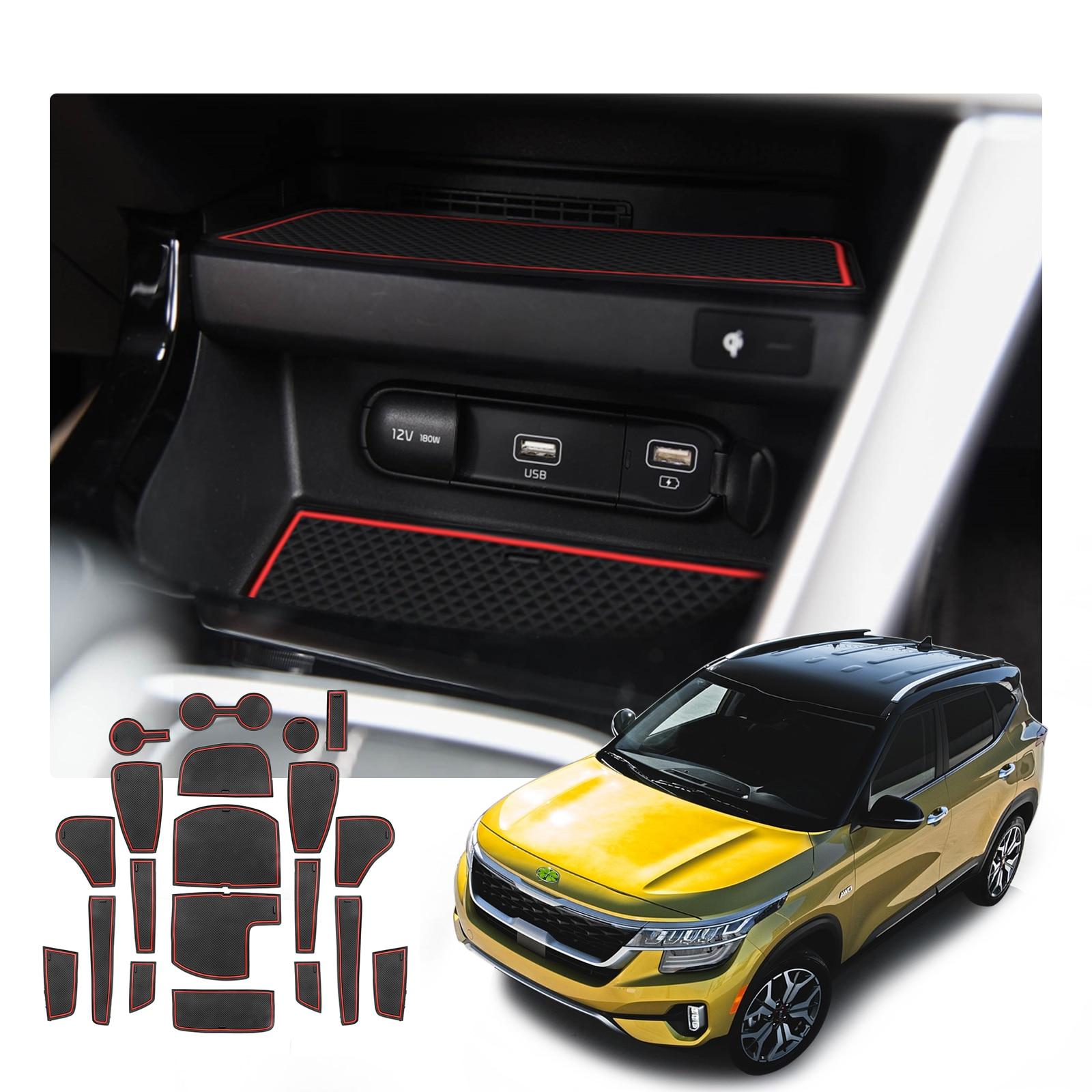 RUIYA Car Door Groove Mat For Seltos 2021/Celltos 2019 2020 Anti-Slip Gate Slot Pads Auto Interior Accessories Red/White 20 Pcs
