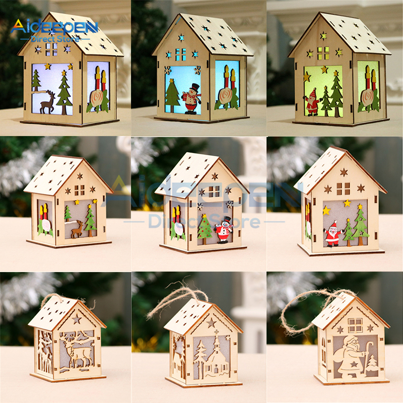 Four-Color LED Light Wood House Christmas Tree Ornaments Small House DIY Christmas Decorations For Christmas Holiday Gift