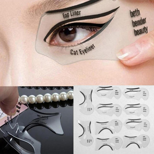 2Pcs Professional Eyeliner Stencils Models Template Shaping Tools Eyebrows Template Card Eye Shadow Eyeliner Stencil Makeup Tool