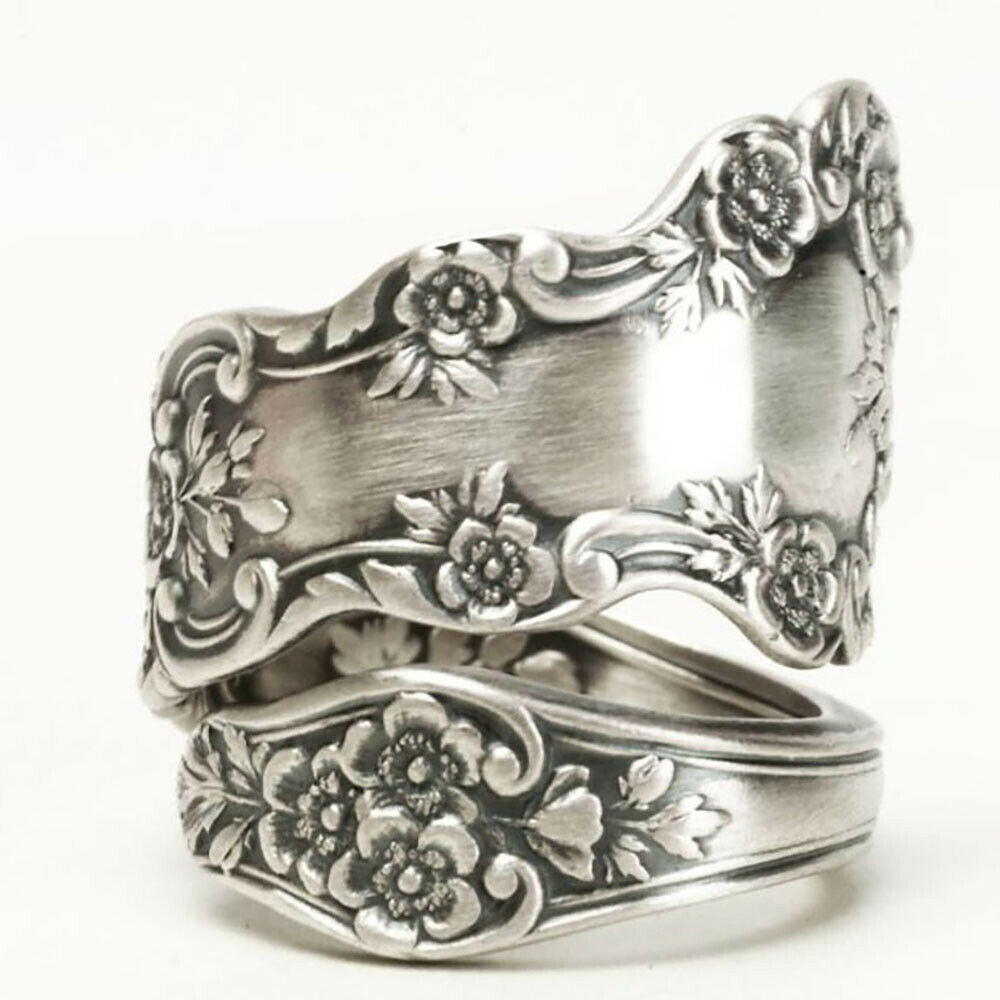 Huitan Vintage Antique Color Women-Midi-Rings Graceful Engraved Flower Pattern Retro Party Female Finger Ring Stylish Jewelry