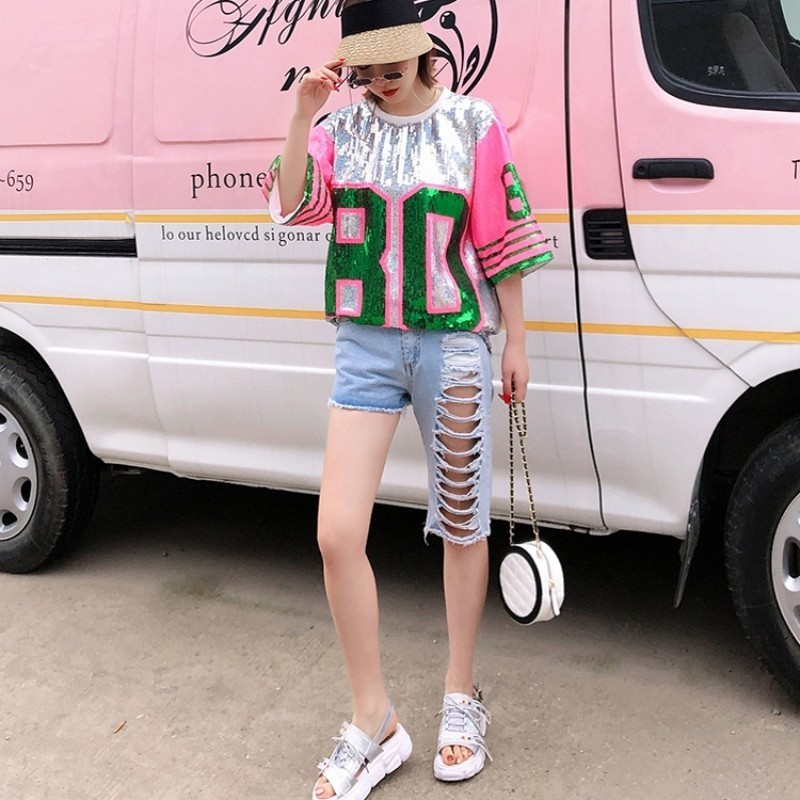 2020 New Summer Womens Jean Shorts Korean High Waist Irregular Shorts Female Casual Multi Hole Hip Hop Denim Shorts Streetwear