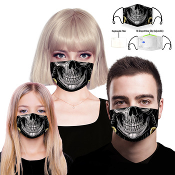 3D Skull Printing Reusable Protective PM2.5 Filter mouth Mask anti dust Face mask Windproof Mouth-muffle bacteria proof Flu Mask