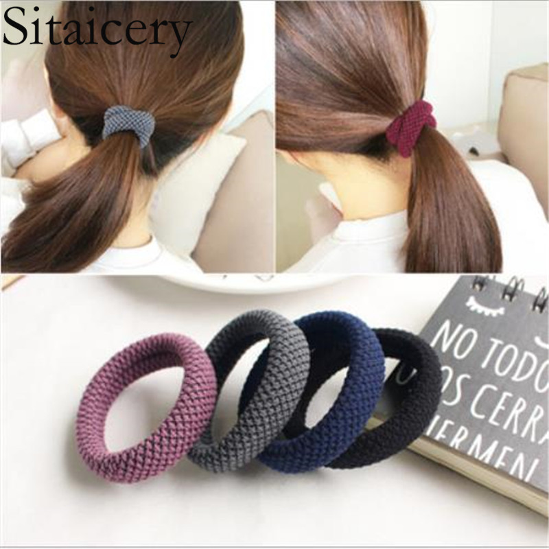 Sitaicery 1PCS New Elastic Hair Bands Strong Gum For Hair Thick Hair Scrunchies Women Holder Tie Gift Women Hair Accessories