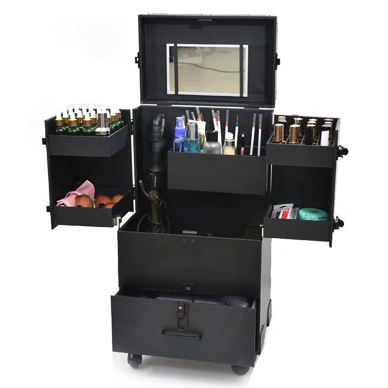 Suitcases Toolbox Makeup Rolling-Luggage Tattoo-Trolley Multi-Layer Women Wheel Large-Capacity