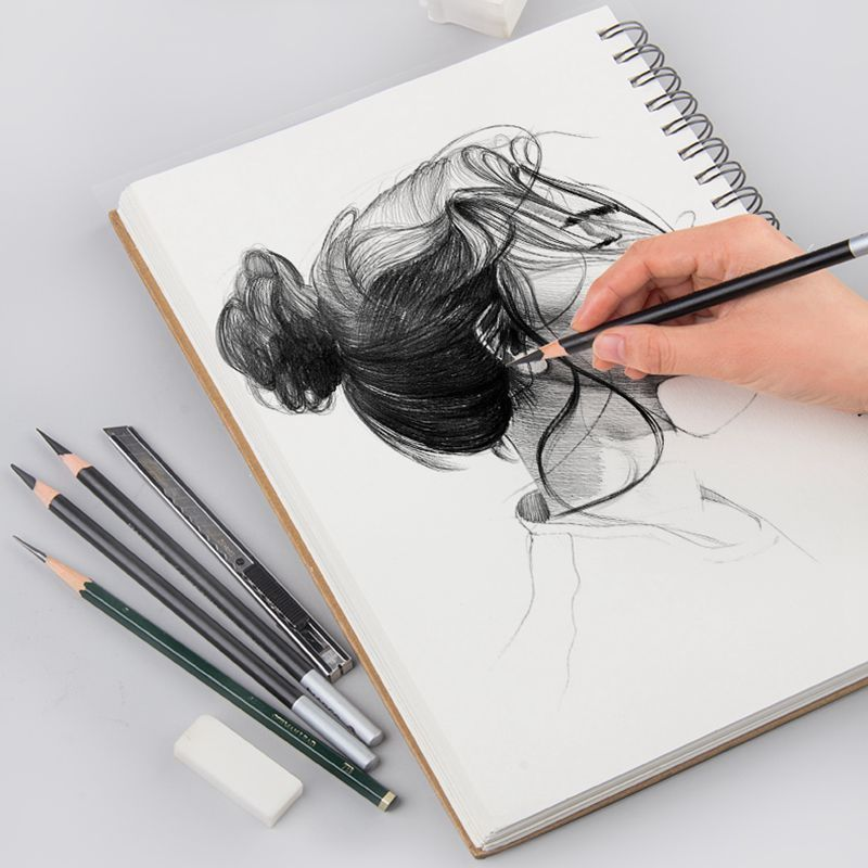 Professional Spiral Coil Painting Sketchbook 8K/16K Double-side Kraft Hard Cover Sketch Paper For Drawing Art Suppliy Stationery