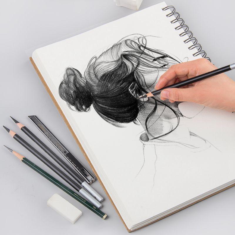 Professional Spiral Coil Painting Sketchbook 8K/16K Double-side Kraft Hard Cover Sketch Paper For Drawing Art Suppliy Stationery